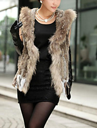 Women's Authentic Knitted Rabbit Fur Vest With Raccoon Fur Collar With Hood
