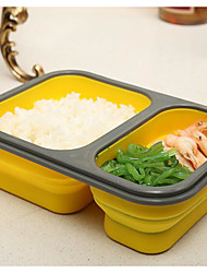 Silicone Bunk Folding Buckle Crisper Microwave Lunch Box Lunch Box Portable Outdoor Travel With A Spork