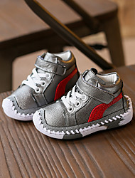 Unisex Sneakers Comfort Leather Fall Casual Walking Comfort Lace-up Flat Heel White Black Silver Flat