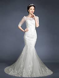 Trumpet / Mermaid Wedding Dress Sweep / Brush Train Scoop Tulle with Appliques / Button / Lace