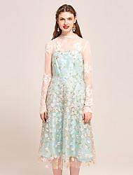 YIGELILA Women's Bateau Long Sleeve Tea-length suit-62199