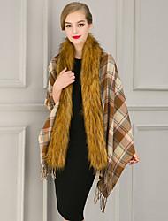 Women's Casual/Daily Cloak/CapesPlaid Stand Long Sleeve Winter Beige / Green / Purple Faux Fur / Cotton Medium