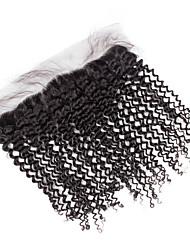 10inch to 20inch Schwarz 4x13 Closure Kinky Curly Echthaar Schließung Mittelbraun Schweizer Spitze about 50g Gramm DurchschnittlichCap