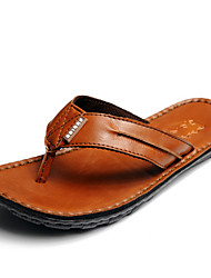 Men's Slippers & Flip-Flops Summer Flip Flops Leather Casual Flat Heel Others Black / Brown / Green Others