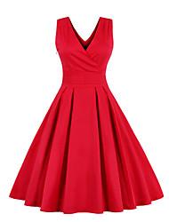 Mujer Vaina Vestido Tallas Grandes Vintage,Un Color Escote en Pico Hasta la Rodilla Sin Mangas Rojo Algodón Para Todas las TemporadasTiro