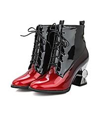 Feminino-Botas-Sapatos clube-Salto Grosso-Preto Rosa Prateado-Couro Envernizado-Ar-Livre Social Casual