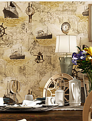 Vintage Compass Chart Wallpaper For Walls Child Wall Stickers Kids Wall Paper Blue Sea Wallpapers