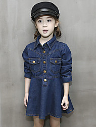 Girl's Casual/Daily Solid Dress / JeansCotton Spring / Fall Blue
