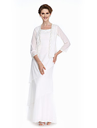 Lanting Bride®Lanting Bride Sheath / Column Mother of the Bride Dress Floor-length Chiffon with Beading