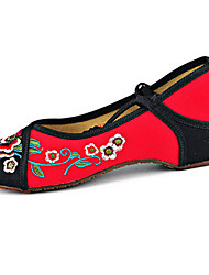 Women's Shoes Canvas Spring / Summer / Fall Mary Jane / Comfort Flats Casual Flat Heel Buckle / Flower Black