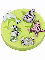 Sealife Seahorse Shells CupCake Decoration Silicone Fondant Mold Sugarcraft Tools Polymer Clay Chocolate Candy Making