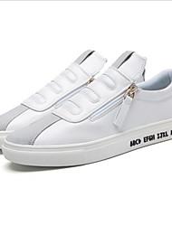 Herren-Sneaker-Lässig-PU-Flacher Absatz-Flache Schuhe-Schwarz / Weiß