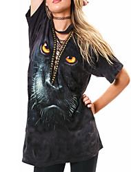 Damen Druck Sexy Ausgehen / Party/Cocktail T-shirt,V-Ausschnitt Sommer / Herbst Kurzarm Schwarz Polyester Undurchsichtig