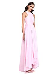 Asimétrica Tafetán Elegante Vestido de Dama de Honor - Corte en A Joya con Recogido