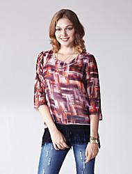 Damen Druck Einfach Lässig/Alltäglich T-shirt,Rundhalsausschnitt Sommer ¾-Arm Blau / Orange Polyester Dünn