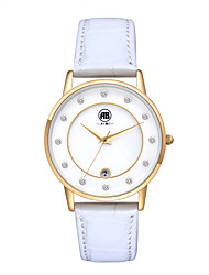 Belle Golden Case White Dial White Leather Strap Watch