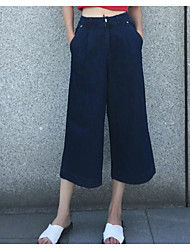 Women's Solid Blue Loose PantsSimple Spring / Fall