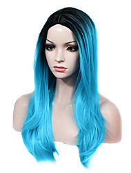 IMSTYLE 22 Long Straight Blue Cosplay Two Tones Ombre Synthetic Machine Wig