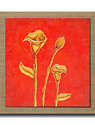 Modern Wall Art Pictures Golden Flower Oil Painting On Linen Home Decoration Abstract Painting With Frame