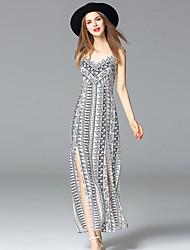 boho feriado solta cinta dressgeometric maxi mangas rayon branco do verão das mulheres frmz