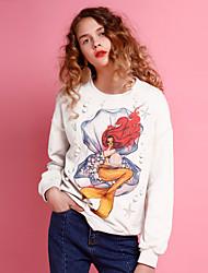 Dames Casual/Dagelijks Eenvoudig Normaal Hoodies Print-Blauw / Geel Ronde hals Lange mouw Polyester Herfst Medium