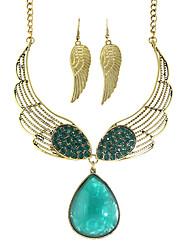 Costume Colorful Rhinestone Wings Shape Fashion Jewelry Sets