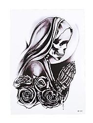 1pc Body Art Beauty Makeup Temporary Believer Skull Pray Flower Picture Design for Women Men Tattoo Sticker HB-324