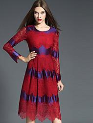 Dentelle Robe Femme Sortie Grandes Tailles Sophistiqué,Imprimé Col Arrondi Mi-long Manches Longues Rouge Polyester Automne Taille Normale