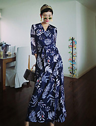 femmes liangsanshi street chic robe ample simples / floral, col rond coton midi / autres