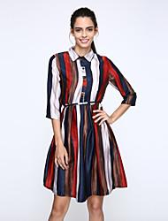 Mulheres Vestido Altura dos Joelhos Manga ¾ Colarinho de Camisa Pregueado / Taxas Mulheres