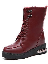 Women's Boots Winter Riding Boots Leather Office & Career / Casual Flat Heel Sparkling Glitter Black / Burgundy Others
