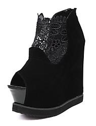 Черный-Женский-Для вечеринки / ужина-Кожа-На танкетке-Удобная обувь Оригинальная обувь Модная обувь-Обувь на каблуках