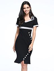 Moulante Robe Femme simple,Couleur Pleine Col en V Mi-long Manches Courtes Coton Eté Taille Haute
