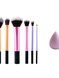6 Makeup Brushes Set Synthetic Hair Professional And Small Size Sponge For Concealer Foundation Blusher Water Swellable