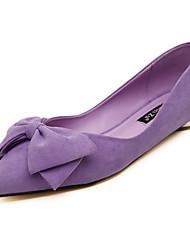 Women's Loafers & Slip-Ons Fall Comfort Fleece Outdoor Low Heel Bowknot Black / Blue / Pink / Purple Walking