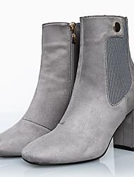 Черный / Серый-Женский-Для прогулок / Для офиса / На каждый день-Ткань-На толстом каблуке-На каблуках / Военные ботинки / Ботинки-Ботинки