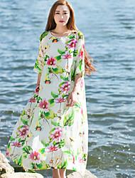 Ample Robe Femme Décontracté / Quotidien Chinoiserie,Fleur Bateau Mi-long Manches ¾ Vert Lin Printemps / Eté Taille Normale Non Elastique