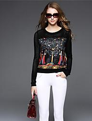 BOMOVO® Femme Col Arrondi Manche Longues T-shirt Noir-B16QB17