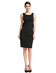TS Couture Cocktail Party Prom Dress - Elegant Little Black Dress Sheath / Column Scoop Knee-length Polyester with Pleats