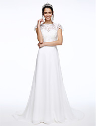 A-Line Illusion Neckline Court Train Chiffon Lace Wedding Dress with Sash / Ribbon Button Flower by LAN TING BRIDE®