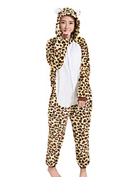 kigurumi Pyjamas Léopard Fête / Célébration Pyjamas Animale Halloween Marron Léopard vison de velours Kigurumi PourMasculin Féminin