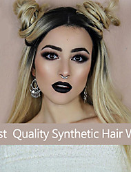 Natural Hairline Wavy Ombre Black To Blonde Two Tone Lace Synthetic Wig Women Wave Hair Wigs