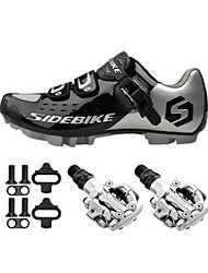 SD001 Cycling Shoes Unisex Outdoor / Mountain Bike  Black / Silver-sidebike And PD-M520 Lock Pedals