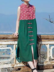Mulheres Vestido Solto Vintage Floral Médio Decote Redondo Algodão / Linho