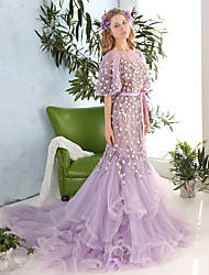 Formal Evening Dress Trumpet / Mermaid Jewel Chapel Train Tulle / Charmeuse with Beading / Flower(s) / Sash / Ribbon