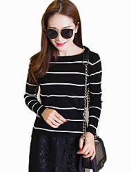 Women's Round Neck Wild Striped Knitwear Sweater