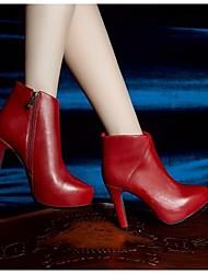 Черный / Красный-Женский-Для прогулок-Кожа-На шпильке-Военные ботинки-Ботинки