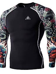 Men's Print Casual T-Shirt,Cotton Long Sleeve-Black