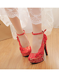 Damen-High Heels-Hochzeit-Wildleder-Stöckelabsatz-Rundeschuh-Rot