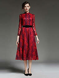 JOJO HANS  Women's Going out Sophisticated Sheath DressPrint Stand Midi Long Sleeve Red Polyester Spring